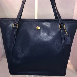 Coach Peyton Leather ZIP Top Tote Ink Blue